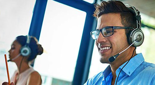 IT Computer Support Specialist with headset
