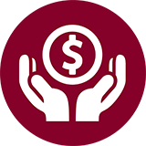 Icon of hands grasped around a dollar sign.