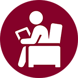 Icon of student sitting in chair holding a tablet.