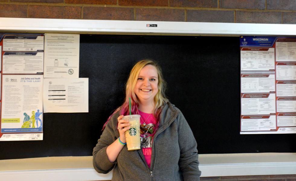 Mid-State Technical College Nursing student Adriane Huckstep enjoying her Starbucks White Chocolate Mocha at the Wisconsin Rapids Campus. Huckstep was one of many Mid-State students to visit the College's new Starbucks counter in the cafeteria during the first week of school.