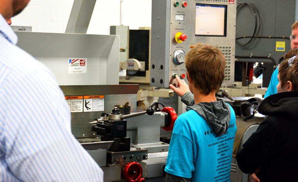 Local eighth-graders explore the Machine Tool Technician lab on the Wisconsin Rapids Campus of Mid-State Technical College during the Heavy Metal Tour, Oct. 2.