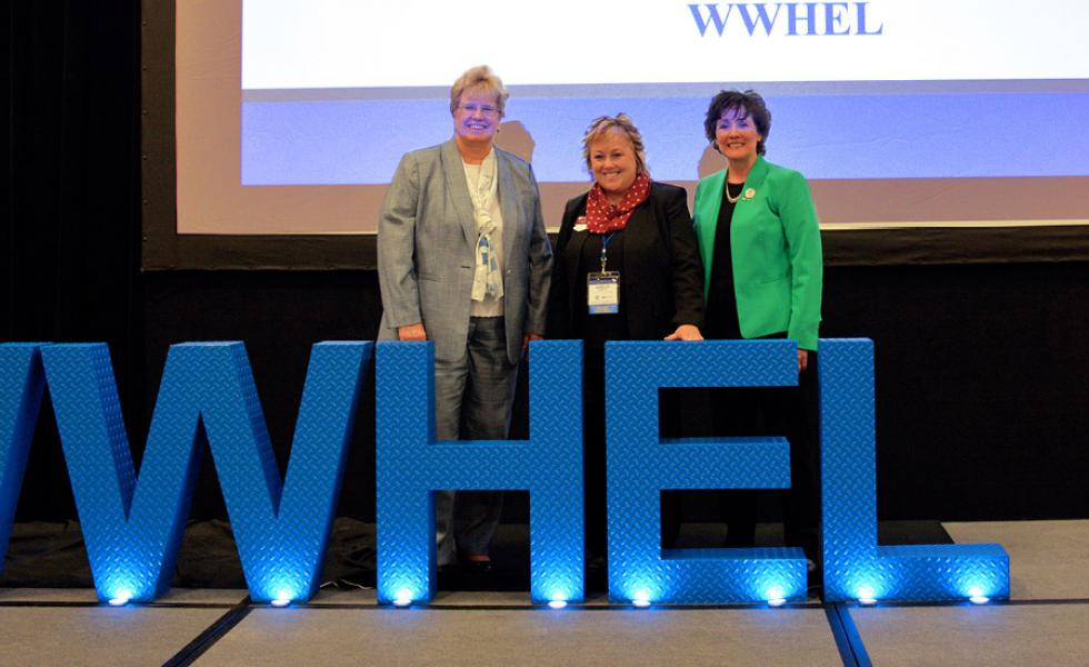 Honored as three high-level female leaders in the state at the Wisconsin Women in Higher Education Leadership (WWHEL) Fall 2019 Conference on Oct. 9–10, from left, are Mount Mary University President Dr. Christine Pharr, Mid-State President Dr. Shelly Mondeik and UW-Parkside Chancellor Dr. Debbie Ford.