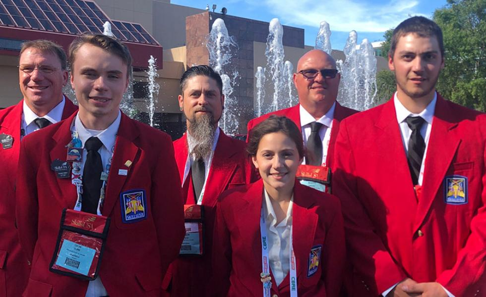 Mid-State student competitors and their instructors at the national SkillsUSA Championships in Louisville, Ky, this June. Front, from left: Students Caleb Cline, Madelyn Matthews and Thomas Hasenorhl. Back, from left: Instructors Mike Berry, Aaron Wulk and Scott Engel.