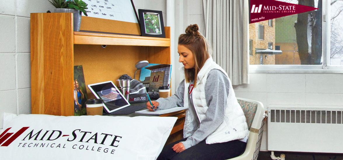 The rooms available to Mid-State students as a result of the housing partnership include beds, bureaus, closets and desks for two students. A meal plan is also included in the cost.