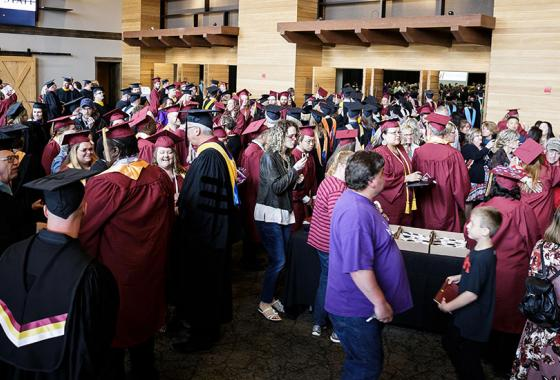 Mid-State Technical College's spring 2019 graduates mingle with family, friends and Mid-State faculty and staff after receiving their diplomas in the College's May 19 commencement ceremony at SentryWorld in Stevens Point, which drew over 2,000 attendees.