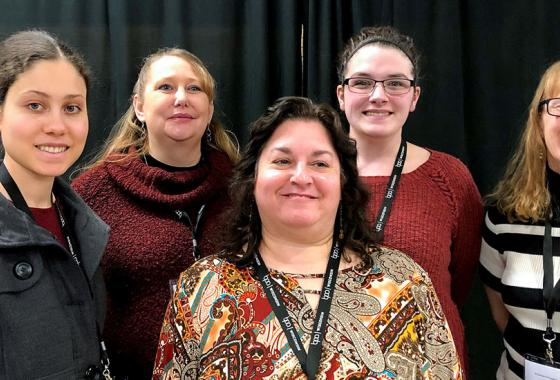 Competing Mid-State Business Professionals of America (BPA) Club students with Business Technology Instructor and BPA club advisor Sharon Behrens, front and center, at the Wisconsin State Leadership Conference held in Wausau, Feb. 27–28. From left, the students are Hannah Guerrero, Jennifer Mauritz, Tiffany Marshall and Rhonda Martinson.