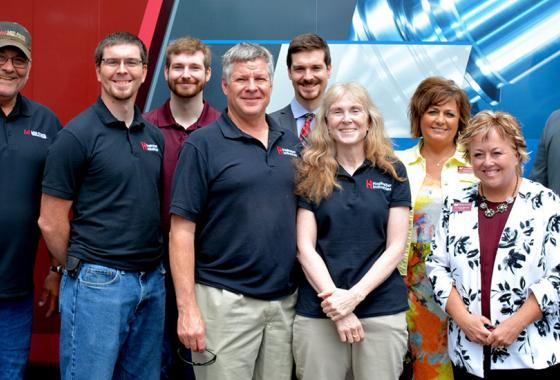 Land donor Wayne Bushman and financial donor Hastreiter Industries show support for Mid-State's Advanced Manufacturing, Engineering Technology, and Apprenticeship Center project during the campaign launch with College leaders. Pictured, from left: Wayne Bushman, Keegan Hastreiter, Kody Hastreiter, Ken Hastreiter, Kylan Hastreiter, Sondra Hastreiter and Mid-State Vice President of Workforce Development & Community Relations Dr. Bobbi Damrow, President Dr. Shelly Mondeik and Dean of Advanced Manufacturing &