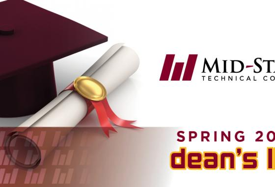 Graduation cap and diploma with the Mid-State logo and the text reading spring 2020 dean's list