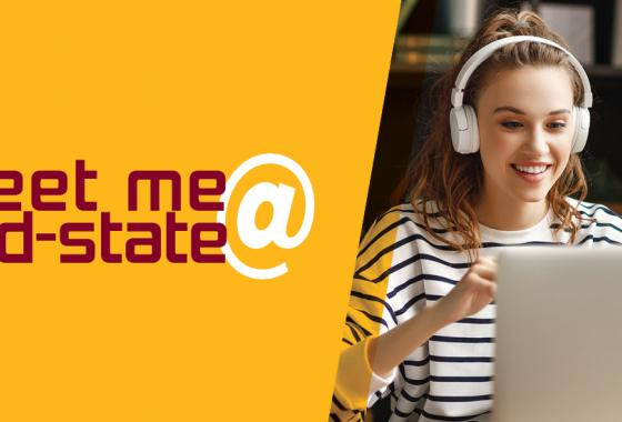 Woman sitting at a laptop with a Mid-State Logo on the back of it. Text over image reads Meet Me @ Mid-State.