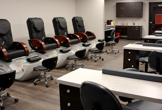New manicure stations and pedicure thrones with reclining massage chairs are now available to clients in the remodeled Salon@Mid-State.